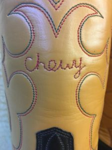 boots with stitched name