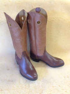 "Medium brown softy water buffalo with 16"" british tan tops, single row of stitching and pull holes"