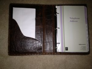 leather address binder