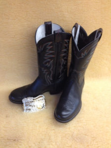 "2015 Award winning boots! Black softy water buffalo with a toe flower, 12"" black tops with four rows of stitching"