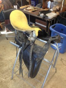 before and after english saddle repair