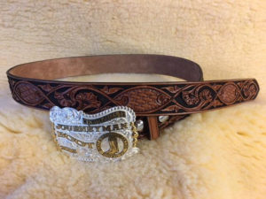 fancy belt with award buckle